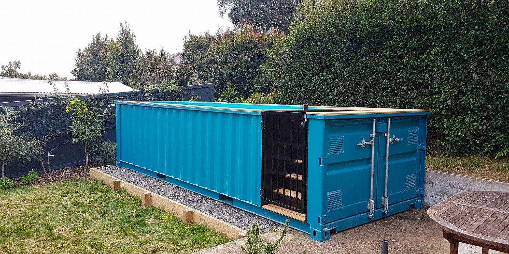 Shipping container pool container pools nz for Above ground swimming pools nz